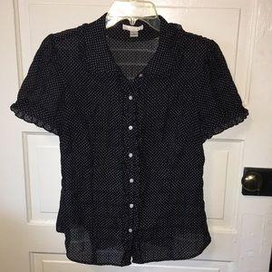 Black and white polka dot Ann Taylor LOFT blouse